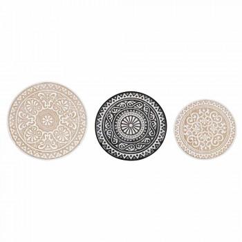 3 Mesas de Centro en Mdf con Decoraciones con Incrustaciones de Homemotion - Mariam