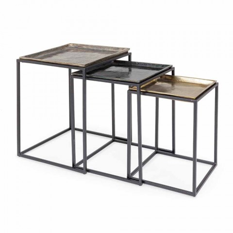 3 Mesitas Cuadradas de Aluminio y Acero Homemotion - Quinzio