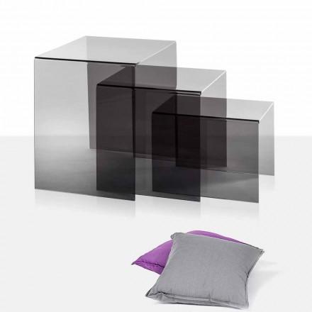3 mesas de centro superpuestas ahumadas Amalia, diseño moderno, made in Italy