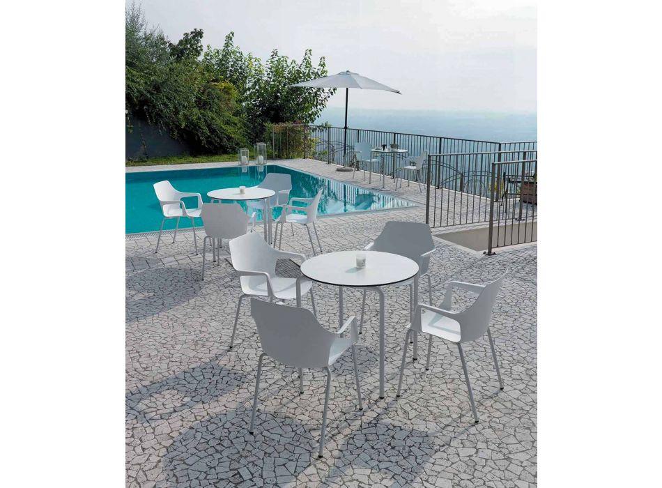 4 sillas apilables de exterior en polipropileno y metal Made in Italy - Carlene