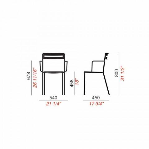 4 sillas de metal apilables para exteriores hechas en Italia - Yolonda