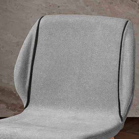 4 elegantes sillas de salón de diseño moderno en tela con borde - Scarat