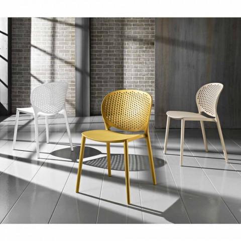 4 sillas de polipropileno apilables de colores de diseño moderno - Pocahontas