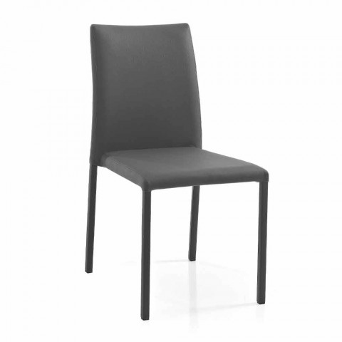 4 elegantes sillas de diseño moderno en ecopiel de colores para salón - Grenger