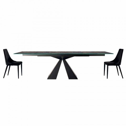 4 sillas modernas de acero con asiento tapizado de terciopelo Made in Italy - Nirvana