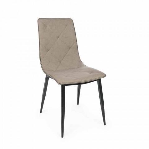 4 sillas modernas tapizadas en cuero sintético con base de acero Homemotion - Daisa