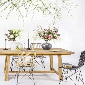 4 sillas de comedor en acero y tejido de Kubu Homemotion - Kendall