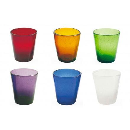 Servicio de artesanía de 12 vasos de vidrio soplado de colores - Yucatán