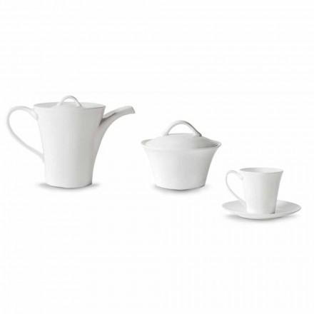 6 tazas de café de porcelana con plato, cafetera y azucarero - Romilda