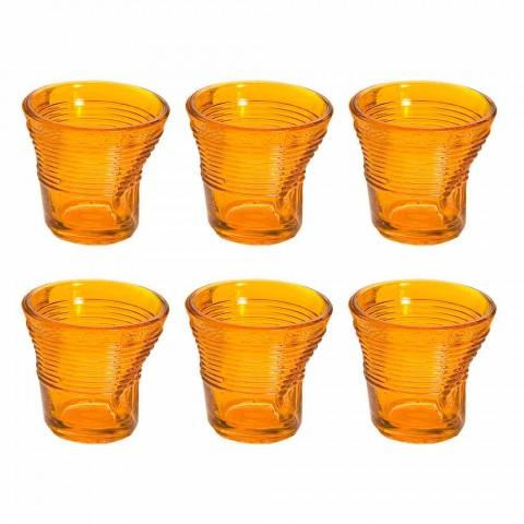 6 tazas de café con vasos arrugados en vidrio de diseño coloreado - Sarabi
