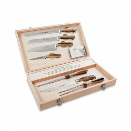 7 cuchillos de mesa en acero inoxidable, Berti en exclusiva para Viadurini - Sanzio