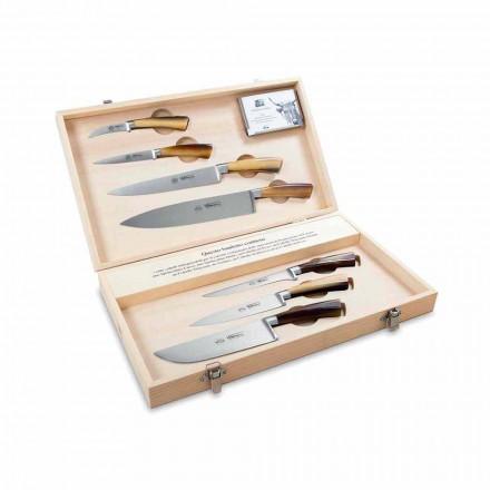 7 cuchillos italianos de acero inoxidable, Berti en exclusiva para Viadurini - Goya