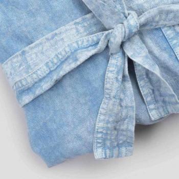 Albornoz de lujo de lino pesado con capucha Made in Italy - Palace