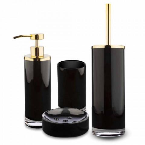 Accesorios de baño independientes en vidrio negro y metal dorado brillante - Negro