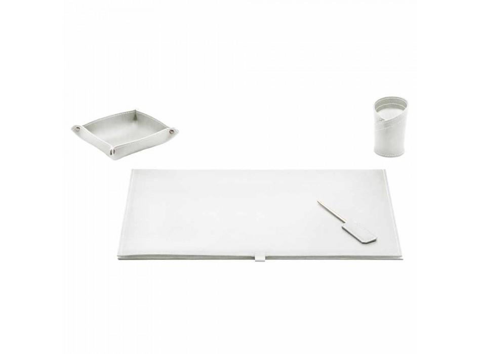 Accesorios de escritorio en cuero regenerado 4 piezas Made in Italy - Aristóteles