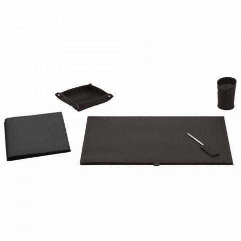 Accesorios de escritorio en cuero regenerado 5 piezas Made in Italy - Aristóteles
