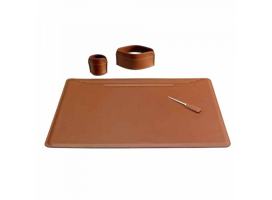 Accesorios de escritorio de cuero regenerado de 4 piezas hechos en Italia - Ebe