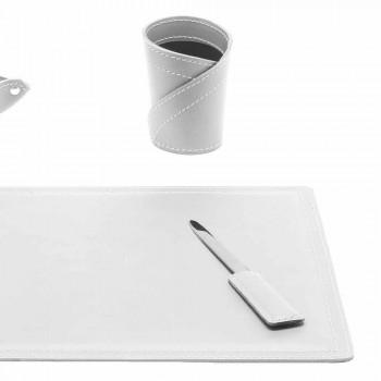 Accesorios Escritorio de cuero regenerado de 4 piezas hecho en Italia - Ascanio