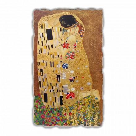 Fresco reproducción grande Gustav Klimt, El beso hecho a mano