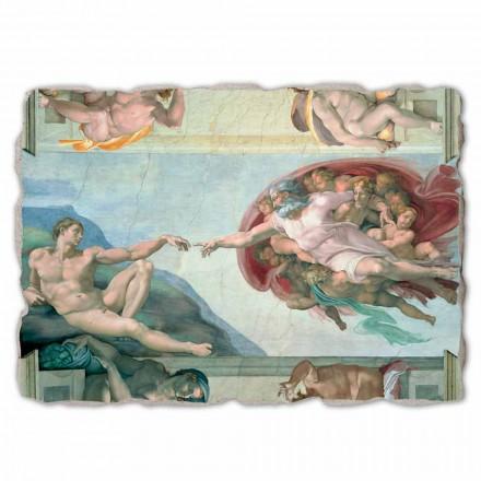 Fresco grande Michelangelo Creación de Adán hecho a mano