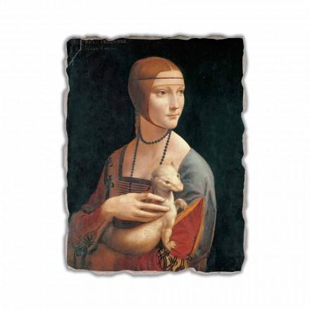 Fresco Leonardo da Vinci, La dama del armiño hecho en Italia