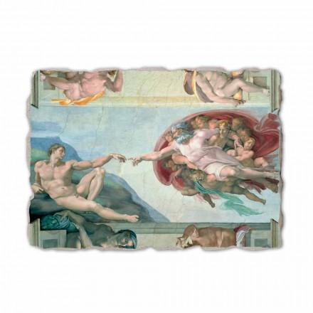 Fresco Michelangelo Creación de Adán hecho a mano en Italia