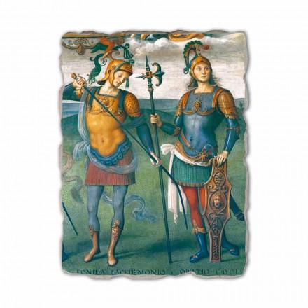 Fresco Fortaleza Templanza con seis héroes de la antiguedad
