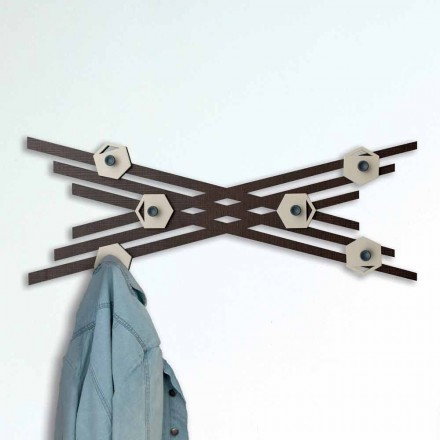 Perchero de pared de diseño moderno en madera lacada de colores - Picassino