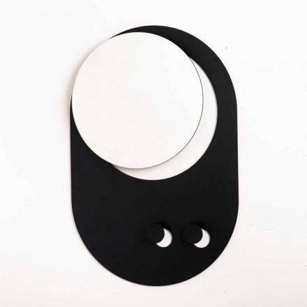 Perchero de pared moderno en acero con espejo Made in Italy - Pilippo