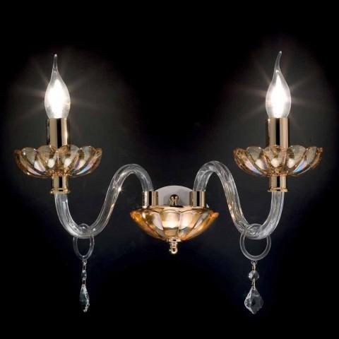 2 luces de pared de diseño clásico en cristal y vidrio fino