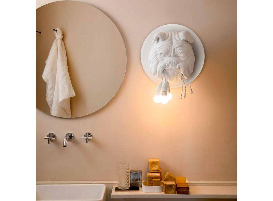 Aplique de pared con 3 luces en cerámica gris o blanca de diseño moderno - Dogbull