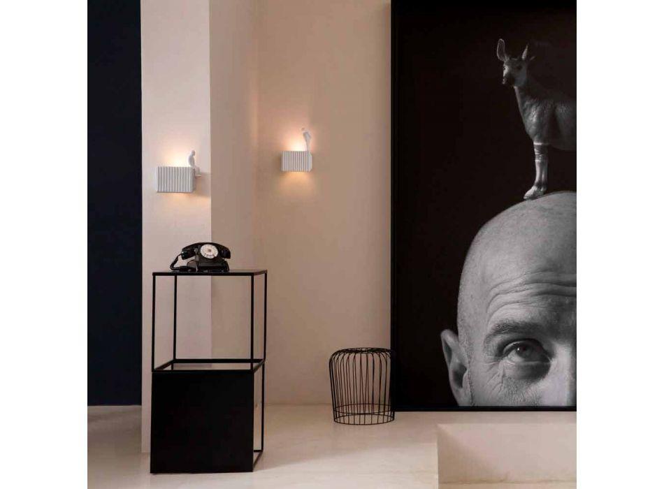 Aplique de pared con 3 luces LED de cerámica blanca mate con Umarell - Ometto