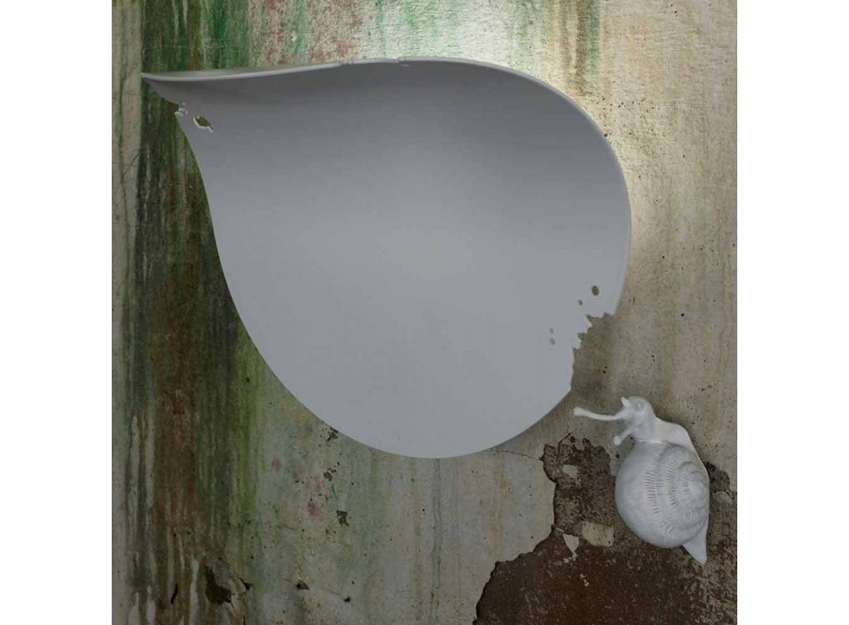 Aplique de pared Design Leaf en Cerámica Blanca y Caracol - Decoración Caracol