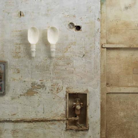 Aplique de pared con diseño de cerámica blanca mate con flores decorativas - Fluxo