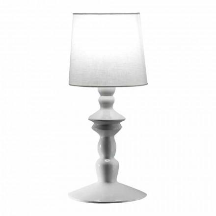 Lámpara de pared de cerámica pintable y pantalla de lino blanco - Cadabra