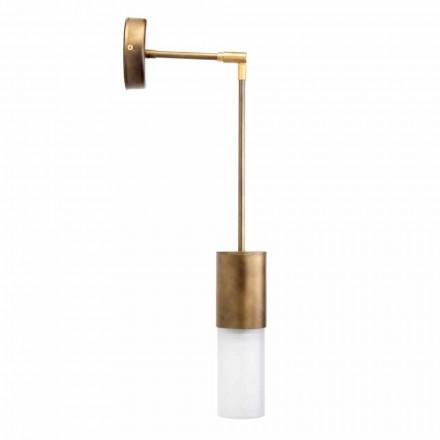 Lámpara de pared artesanal en aluminio y vidrio satinado Made in Italy - Master