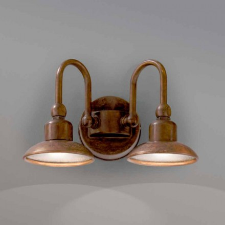 Aplique de exterior de latón y cobre con 2 luces Bugatti