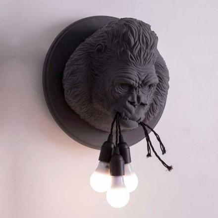 Lámpara de pared de 3 luces en cerámica Gorilla de diseño gris o blanco - Rillago