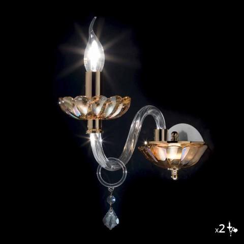 Aplique de diseño clásico en cristal y vidrio de lujo, 2 piezas