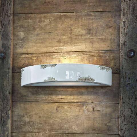 Aplique de pared de la vendimia en media luna de cerámica Helen Ferroluce