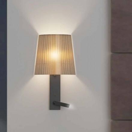 Lámpara de pared de diseño con estructura en metal negro y organza Made in Italy - Boom