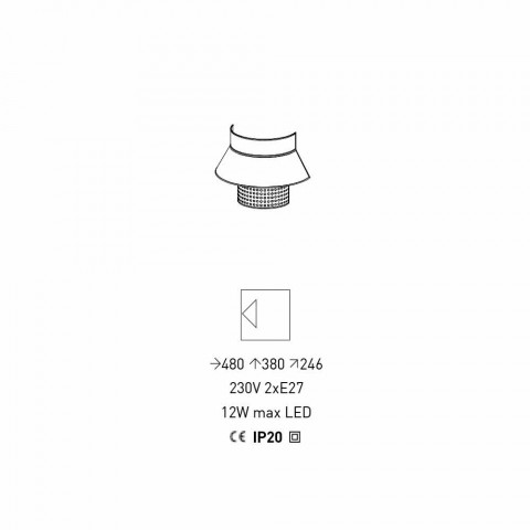 Apliques en tela blanca y gris y diseño de ratán Made in Italy - Sailor
