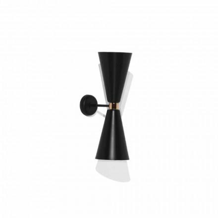 Lámpara de pared moderna con estructura de metal negro mate Made in Italy - Zaira