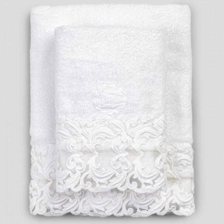 Toallas de felpa de algodón blanco con encaje, 2 piezas de lujo italiano - Sposi