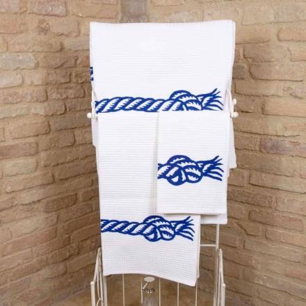 Toalla con estampado artesanal en algodón Pieza única Made in Italy