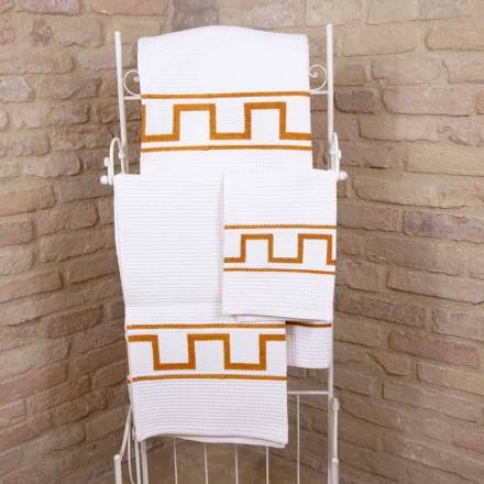 Toalla de arte impresa a mano en algodón Pieza única italiana - Viadurini por Marchi