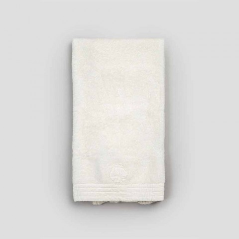 Toalla facial de felpa de algodón con borde de mezcla de lino y encaje - Ginova