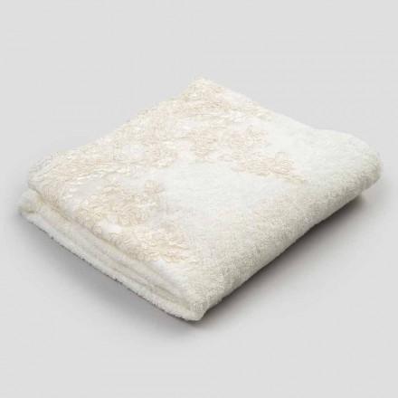 2 Toalla facial de felpa de algodón con borde de mezcla de lino y encaje - Ginova