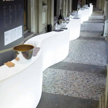 Mostrador de barra modular Slide Snack Barra blanca brillante hecha en Italia