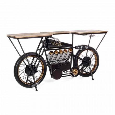 Consola de diseño moderno en madera de mango y acero para motocicleta - Shallot